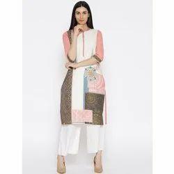 Casual Wear 3/4th Sleeves Ladies Rayon Printed Kurti
