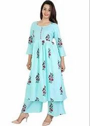 3/4th Sleeve Girl Cotton Kurti With Palazzo Pant Set For Womens