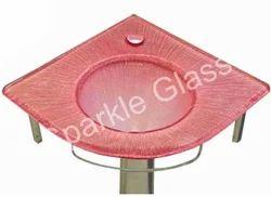 Red Glass Corner Wash Basin Set