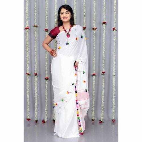 751bee47c58 Handloom Designer Khadi Body Pom Pom Saree