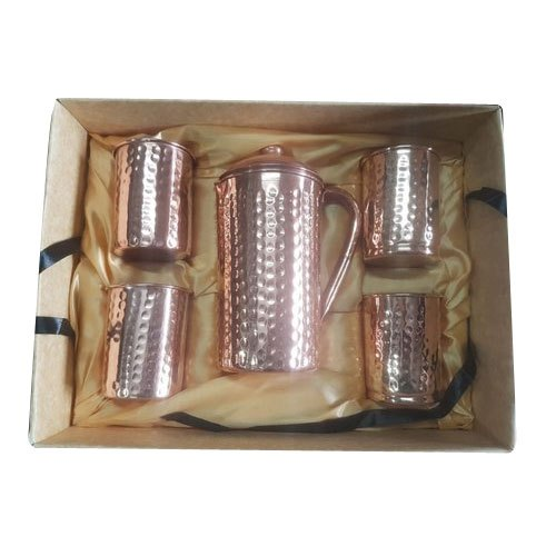 Hammered Cylindrical Diamond Design Copper Jug Glass Set, Packaging Type: Box