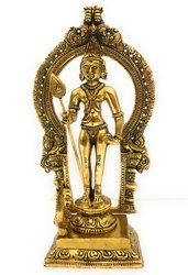 Gold Plated Lord Kartikeya Statue