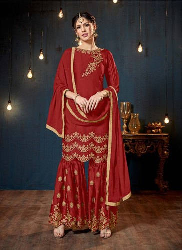 412e7fcec4 Wine Georgette Satin Designer Party Wear Sharara Salwar Suits, Rs ...