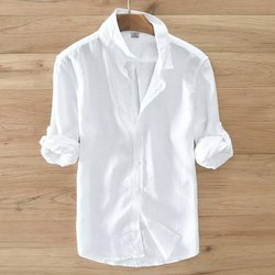 Casual Wear Plain Mens White Cotton Shirt
