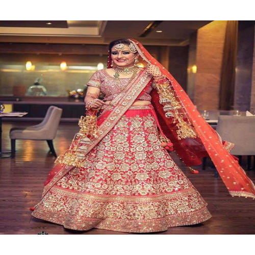 40aabed22aea Red Brocade, Georgette Indian Bridal Lehenga On Rent, Rs 8500 /piece ...