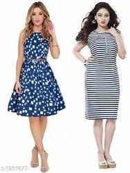Poly American Crepe Designer Dresses (Pack Of 2)