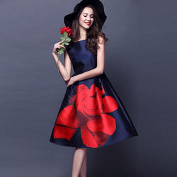Wine And Orange Western Dresses: Designer Floral Print One Piece Dress