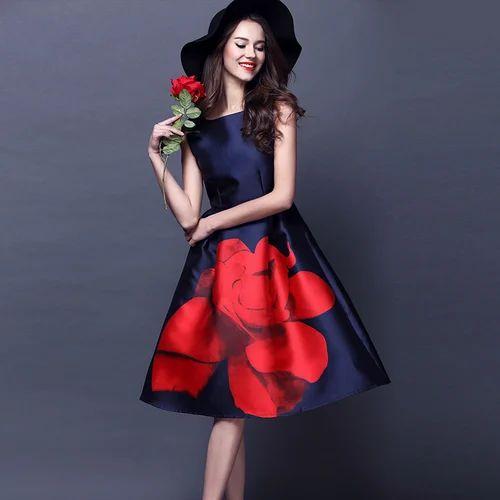 detailing new high quality arriving Wine And Orange Western Dresses: Designer Floral Print One Piece ...