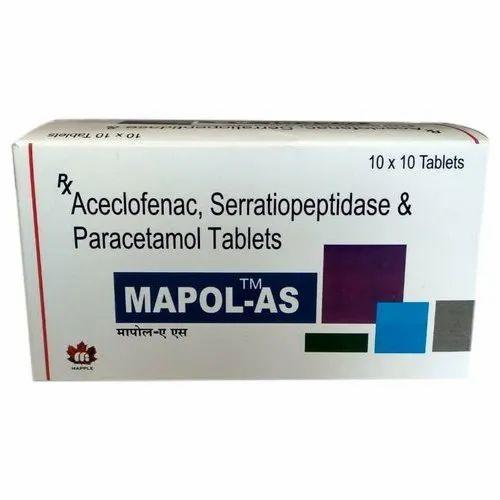 Aceclofenac Serratiopeptidase And Paracetamol Tablet
