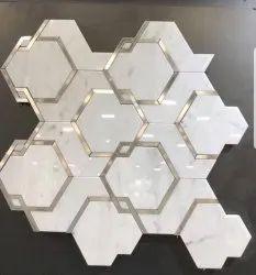 Brass Designer Marble Inlay Flooring Dining Room