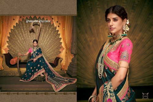 33410f75ce Imperial Banarasi Silk Embroidered Party Wear Saree at Rs 6580 ...