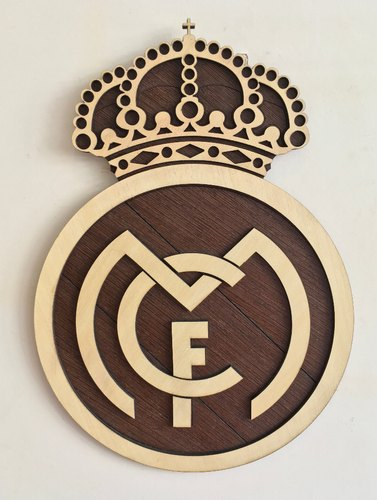 Real Madrid Wall Hanging Wooden Logo