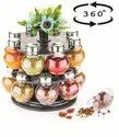 360 Degree Revolving Round Shape Transparent Spice Rack Pack of 16 For Kitchen Storage