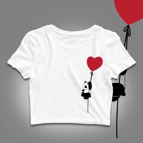 metropolitana legame Espellere  White Crop top for Girls - Panda Heart, क्रॉप टॉप - Tshirt Hub, Navi Mumbai    ID: 22281735673