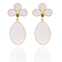 Green Onyx & Milky Chalcedony Dangle Earrings