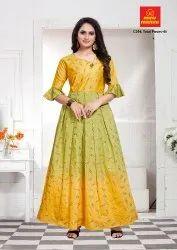 Women Printed Minu Manini Chanderi Party Wear Designer Foil Print Gown