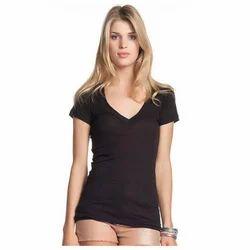 Half Sleeve V-neck Women V Neck T Shirt