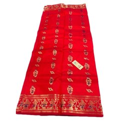 Party Wear Red Ladies Maheshwari Silk Saree, 6.3 m (with blouse piece)