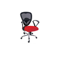 Red Synthetic Leather And Fabric Low Back Mesh Chair