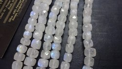 AAA Natural White Rainbow Moonstone Faceted 3D Cube Beads Cut Box Shape Briolette Beads Strands