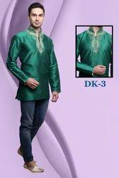 Fancy Mens Short Silk Kurta