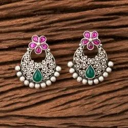 Matte Rhodium Plated Antique Chand Earring 202878