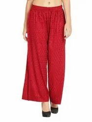 Regular Fit Rayon Chikan Embroidery Palazzo Pants For Women