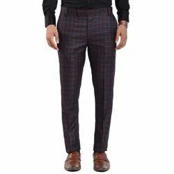 2/40 Polyester+Viscose Tweed Base Fabric Vandnam Slim Fit Checks Trousers
