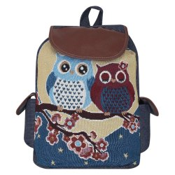 Pink and Blue Cotton Canvas Print Cartoon Owl Print Shoulder Retro Women Backpack, Size/Dimension: 20 X 15 Inch