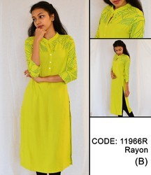 Rayon Yoke Print Mandarin Collar Kurta- Lime Yellow