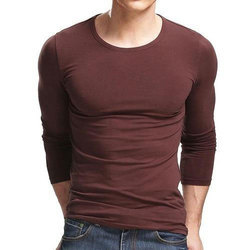 Casual Wear Plain Full Sleeves Round Neck T Shirt
