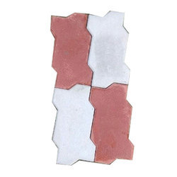 Red And White Concrete Zig Zag Paver Block, Thickness: 60mm - 80mm