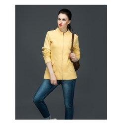 Gupta Full Sleeve Yellow Panneled Zipper Jacket