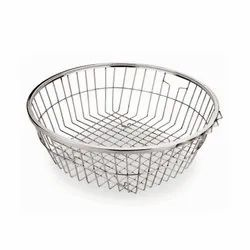 Stainless Steel SS Round Basket, For Fruits & Vegetables Storage, Size: Available In 2 Size