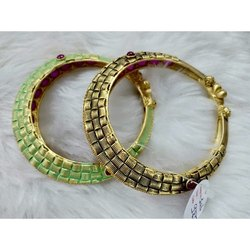 Anniversary Brass Crystal Green Fashion Bangles