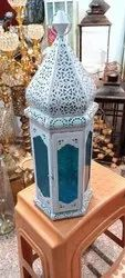 White Moroccan Colored Glass Lantern