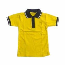 Half sleeves Yellow School T Shirt, 10-15 Years