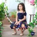 Satin Printed Elegant Blue Floral Print Cut Solder Designer Party Frock, 2-12 Years