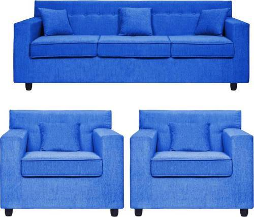 Boss Classy Fabric 3 Plus 1 Plus 1 Blue Sofa Set