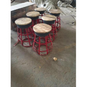 Iron Small Stool With Wood Top