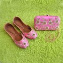 Pink Handwork Sun Flower Design Jutti With Matching Clutch