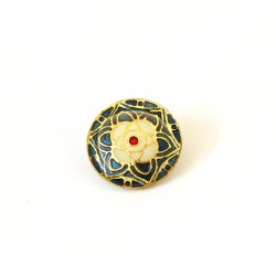 Golden And Blue Brass Meenakari Enamel Button, For Garments, Packaging Type: Box