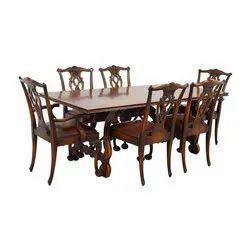 B-Brown Arts 4-5 Feet Wooden Dinning Table, 6 Chair Set
