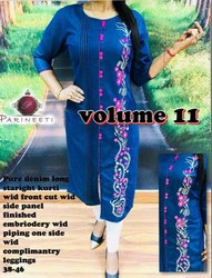 Casual Wear Straight Women's Denim Front Slit Embroidered Kurti, Wash Care: Machine wash