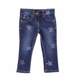 Casual Wear Kids Jeans Kids- Girls Navy Blue Jeans Pants, Age: 3-15