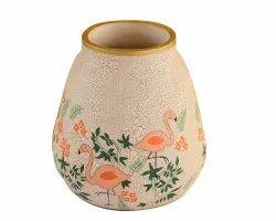 White & Grey Fanusta Nishaat Terracotta Decor Jar for Interior Decor