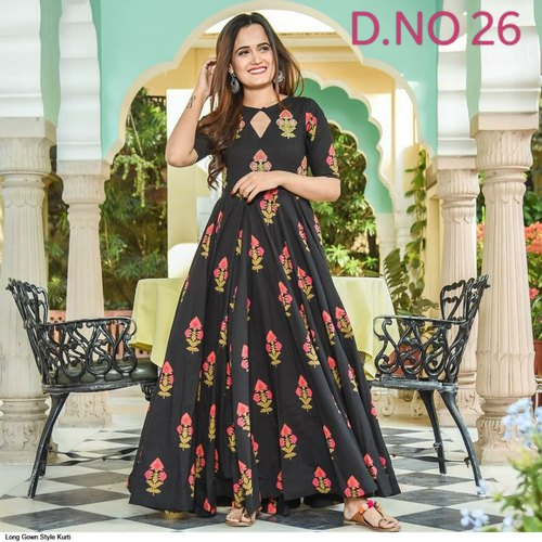 Casual Wear Long Gown Style Kurtis