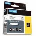 DYMO S0718100  Rhino Flexible Nylon Tape 12mm x 3.5m Black on White