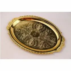 Milestone Plastic Oval Golden Tray
