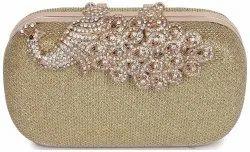 Golden Designer Party Bridal Box Clutch for Women, Size: 15x10x3.5cm